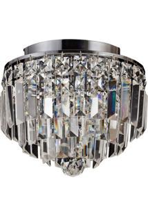 Plafon Sobrepor De Cristal Kri 21,5 Cmx25 Cmxx Bella Iluminação Transparente