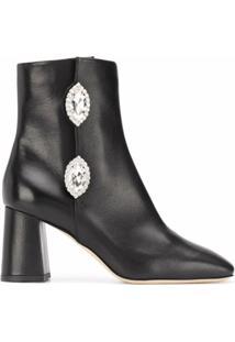 Giannico Ankle Boot Julie Com Aplicação De Cristal - Preto