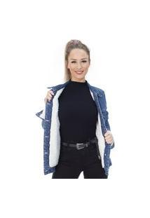 Jaqueta Jeans Ecolife Forrada Oversized Azul