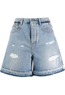 Ermanno Scervino Bermuda Jeans Destroyed - Azul