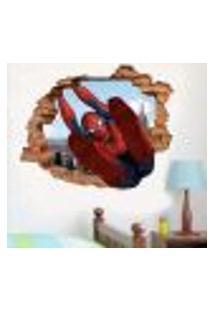 Adesivo De Parede Buraco Falso 3D Homem Aranha - P 45X55Cm