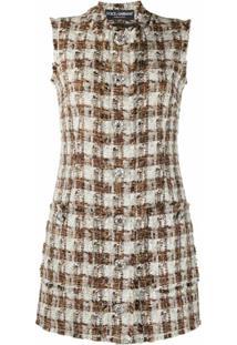 Dolce & Gabbana Vestido Reto Xadrez De Tweed - Neutro