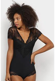 Body Hope Modelador Com Renda Lovely Shape - Feminino-Preto