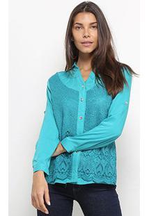 Camisa Heli Manga Longa Guipir Feminina - Feminino-Azul Claro