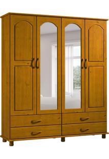Guarda-Roupa Casal Com Espelho Esmeralda 4Pt 4Gv 1414K Teca