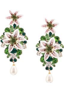 Dolce & Gabbana Par De Brincos Com Aplicações - Verde