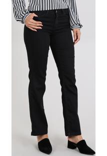 Calça Jeans Feminina Reta Cintura Média Preta