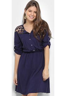Vestido Only Fashion Curto Guipir - Feminino-Azul