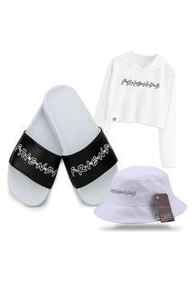 Moletom Cropped, Chinelo Slide E Bucket Personalizado Série Friends Branco