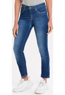 Calça Jeans Five Pockets Mid Rise Slim - Azul Médio - 34