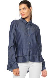 Camisa Jeans Maria Valentina Babados Azul