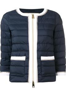 Herno Contrast Trim Quilted Jacket - Azul
