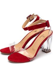 Sandália Salto Transparente Flor Da Pele Vermelho