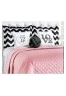 Cobre Leito Rosê Queen Size Matelado Clássico 8 Peças Com Porta Travesseiros E Almofadas Decorativas