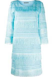 Alberta Ferretti Tiered Fringe Dress - Azul