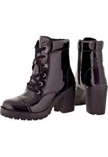 Bota Feshion Sapatofranca Ankle Boot Salto Médio Com Cadarço Preto