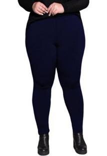 Calça Legging Plus Size Peluciada Térmica Suplex Dicors Feminina - Feminino-Marinho