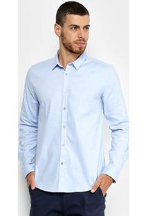 Camisa Manga Longa Calvin Klein Slim Piquet Masculina - Masculino-Azul Claro