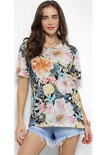 Camiseta Farm Maxi Foral Frescor Feminina - Feminino-Azul+Rosa