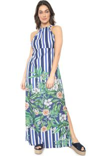 Vestido Mercatto Longo Floral Azul/Branco