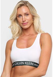 Sutiã Calvin Klein Top Nadador Reveillon Cotton - Feminino-Branco+Chumbo