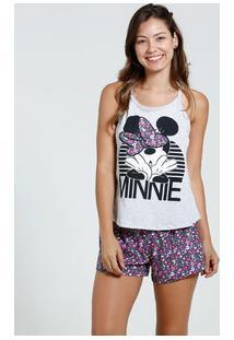 Short Doll Feminino Estampa Minnie Flores Disney