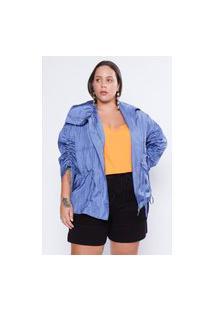 Jaqueta Almaria Plus Size Tal Qual Corta Vento Azul