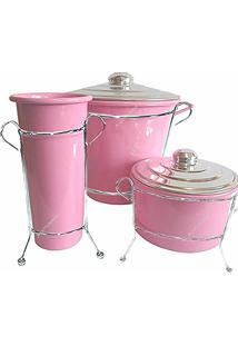 Kit De Pia Aluminio Com Suporte Lixeira (Rosa Color)