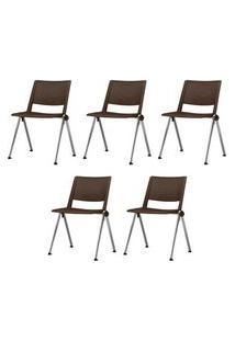Kit 5 Cadeiras Up Assento Marrom Base Fixa Cromada - 57827 Marrom