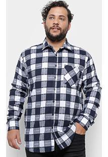 Camisa Xadrez Delkor Plus Size Masculina - Masculino-Azul