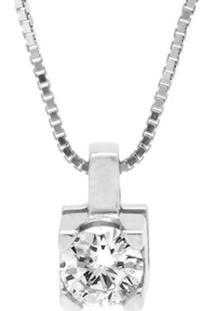 Pingente Solitário Ouro Branco E 14 Pontos De Diamantes