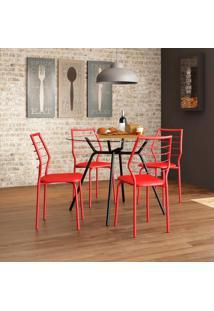 Conjunto De Mesa 1527 Vidro Incolor Preto Com 4 Cadeiras 1716 Casual Vermelho