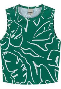 Blusa Verde Cropped Canelada Com Folhagens