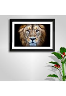 Quadro Oppen House 50X70Cm Leão Moldura Preta E Vidro Decorativo Salas