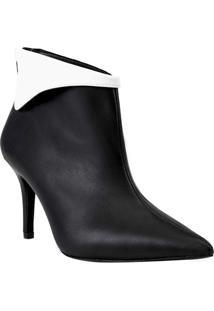 Ankle Boot Com Recorte Sobreposto - Preta & Brancaamaro