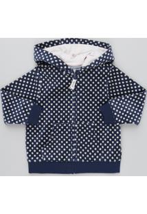 Blusão Infantil Estampado De Poá Em Plush Com Capuz Azul Marinho