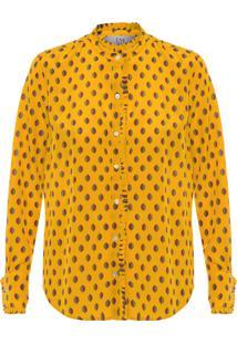 Camisa Feminina Básica Imperial Estampada - Amarelo