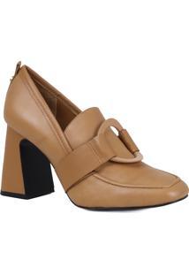 Sapato Scarpin Loafer Jorge Bischoff Salto Grosso Em Couro