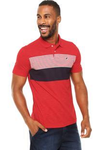 Camisa Polo Malwee Listras Vermelha