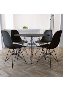 Conjunto De Mesa De Jantar Com 4 Cadeiras Eiffel Iron Preto