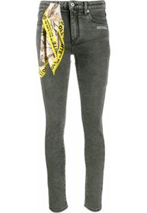 Off-White Calça Jeans Skinny Com Detalhe De Lenço - Cinza