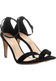 Sandália Couro Shoestock Salto Fino Naked Feminina - Feminino-Preto