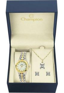 Kit Relógio Champion Feminino - Cn25458D - Feminino-Dourado
