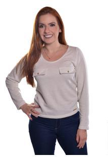 Blusa Carbella Manga Comprida Moleton Brilho Branco