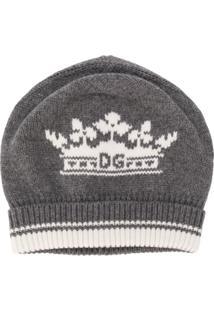 Dolce & Gabbana Gorro De Cashmere Com Logo - Cinza