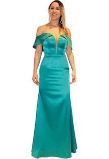 Vestido Longo De Festa Sob Em Cetim Ombro A Ombro Água - Feminino-Verde