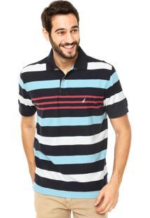 Camisa Polo Nautica Listras Since Azul/Vermelha