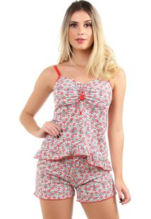 Pijama Short Doll Baby Doll Imi Lingerie Sexy Em Microfibra Natasha Vermelho