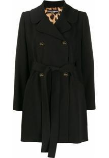 Dolce & Gabbana Casaco Com Abotoamento Duplo E Amarração - Preto
