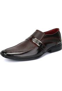 Sapato Social Rebento Envernizado Com Fivela Vinho